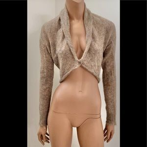 KAOS tan mohair cropped Italian sweater cardigan L
